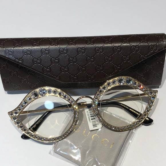 16b43125c58 NWT GUCCI Round Crystal Metal Sunglasses